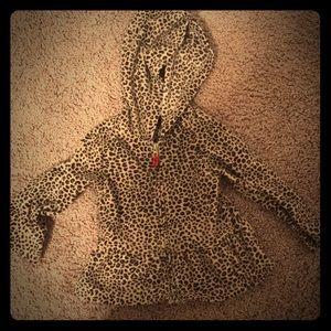 Cheetah Print Zip Up hooded sweatshirt Jacket